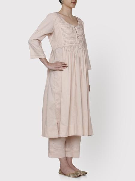 Nayanika Old Rose Beige Kurta & Cropped Pants Set - Riviera Closet