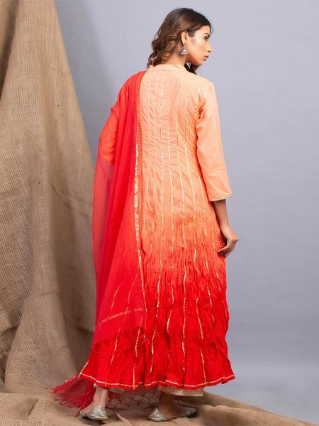 Peach Red Tie Dyed Kurta & Dupatta Set - Riviera Closet