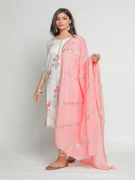 Niloufer Panna Sharara Set - Riviera Closet