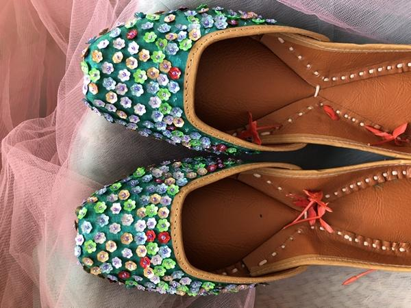 Bottle Green Juttis Adorned with All Over Floral Sequins - Riviera Closet