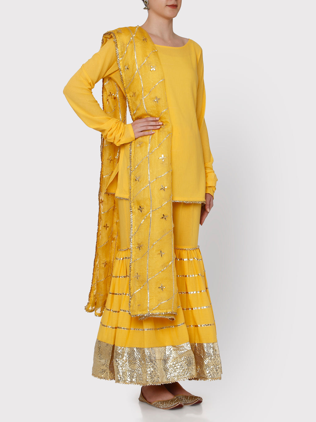 Haldi Yellow Sharara Kurta Set - Riviera Closet