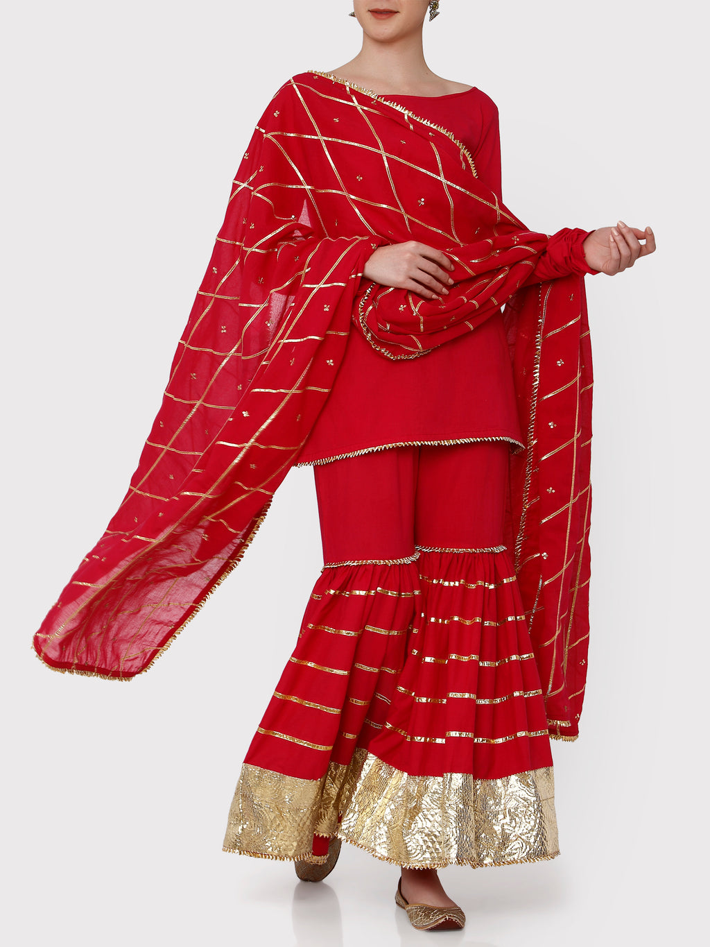 Sindoor Bright Red & Gold Sharara Set - Riviera Closet