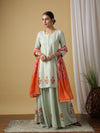 Mandakini Green Kurta Set with Contrast Dupatta - Riviera Closet