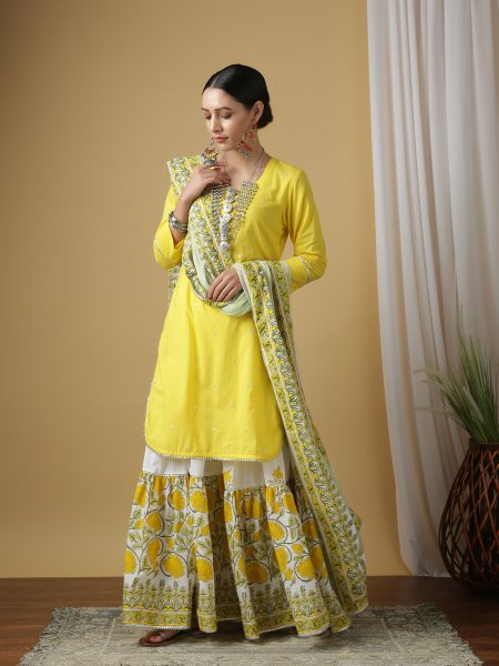 Mrinalini Gudhal Bright Yellow Kurta Sharara Set - Riviera Closet