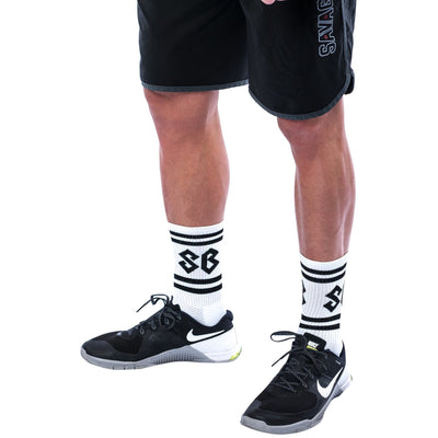 Socks - SB Logo White - Savage Barbell