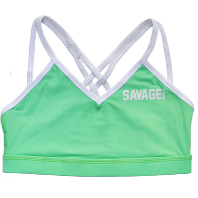 Sports Bra - 4 Strap Sea Foam & White - Savage Barbell