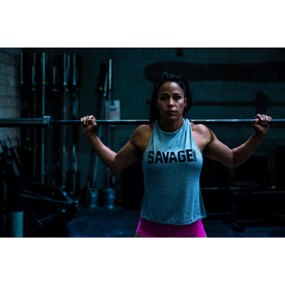 CrossBack Tank Top - Heather Gray - Savage Barbell