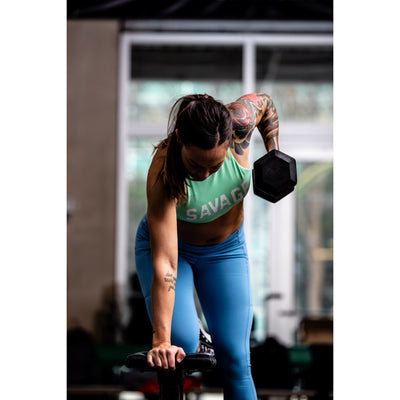 Sports Bra - High Neck Sea Foam - Savage Barbell Apparel