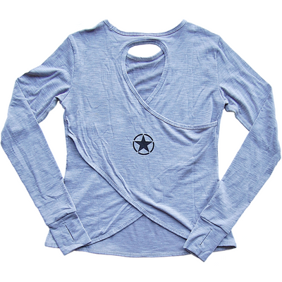 CrossBack Long Sleeve - Heather Gray - Savage Barbell
