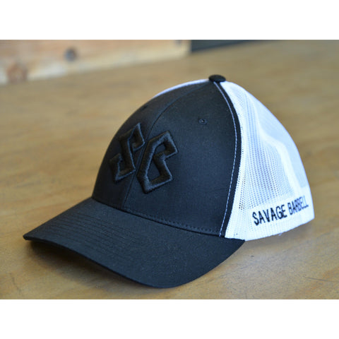Black on Black Savage Barbell Trucker Hat