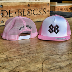 Pink and White Savage Barbell Trucker Snap-back Hat