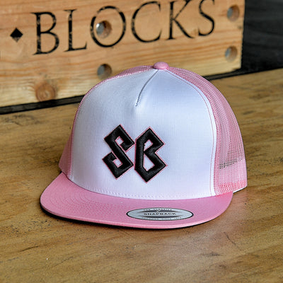 Hat - Pink and White / Trucker Snap Back - Savage Barbell Apparel