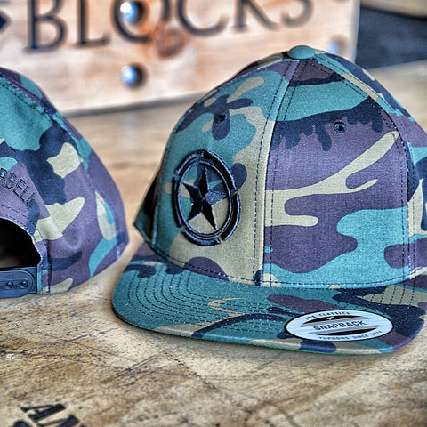 Black Star Camouflage Savage Barbell Snap Back Hat