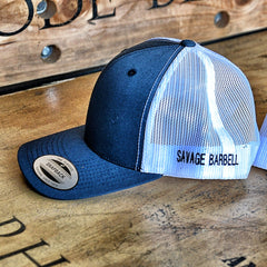 Blue and White Savage Barbell Trucker Hat