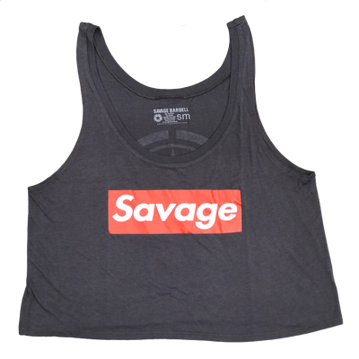 Crop Top - Savage Box - Dark Gray - Savage Barbell