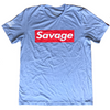 Men's T-Shirt - Savage Box Logo - Heather Blue - Savage Barbell
