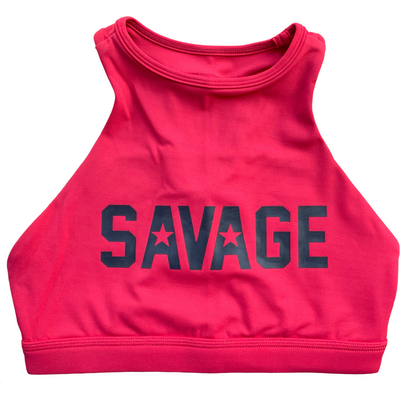 Sports Bra - High Neck Rose - Savage Barbell