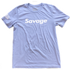 Men's T-Shirt - White Savage ©️ - Heather Blue - Savage Barbell