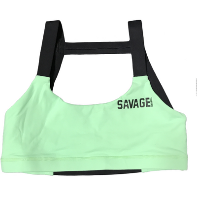 Sports Bra - 2-Strap Sea Foam Green & Black - Savage Barbell