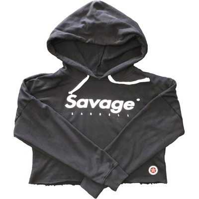 Crop Hoodie - Black - Savage Barbell Apparel