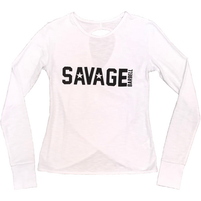 CrossBack Long Sleeve - Stormy White - Savage Barbell