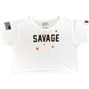 Women's Crop Tee - Starry Eyes - White - Savage Barbell Apparel