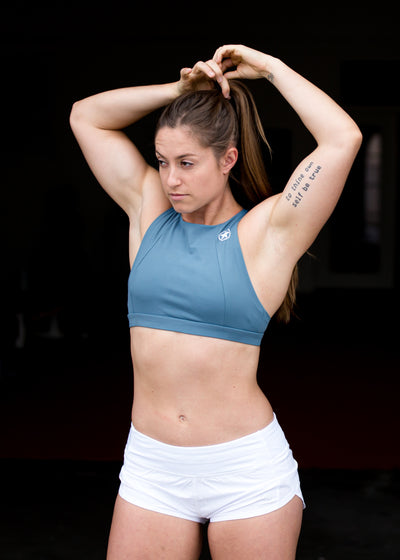 Sports Bra - 6 Strap High Chest - Blue Steel - Savage Barbell