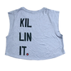 Killin' It - Athletic Gray - Savage Barbell Women's Festival Cropped Tank - Savage Barbell