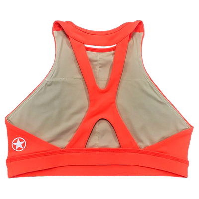 Sports Bra - Fluorescent Orange High Neck Sports Bra - Savage Barbell