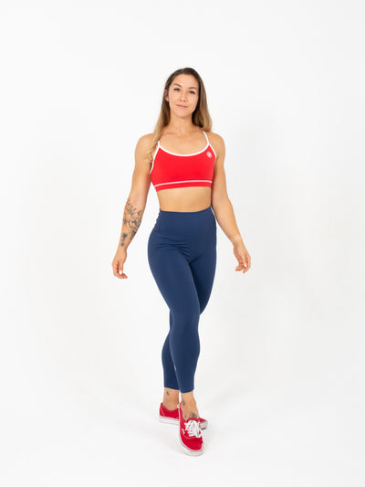Leggings - High Waist Ankle Length - Navy Blue
