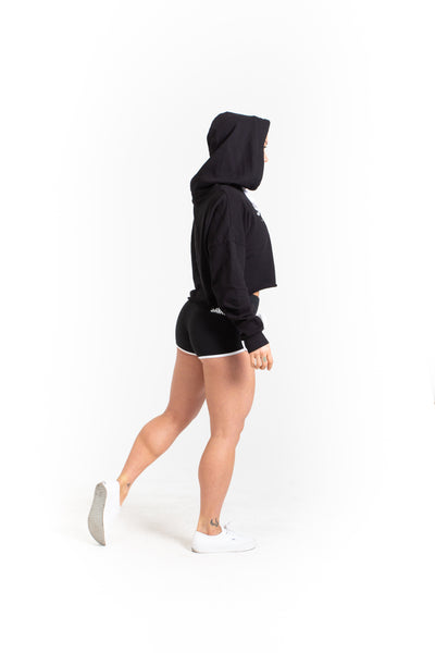 Crop Hoodie - Black - Savage Barbell