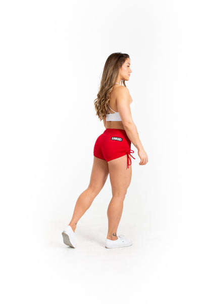 Drawstring Booty Shorts - Red