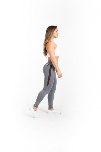 "Leggings - Mid Waist 28"" Length - Alloy - Savage Barbell"