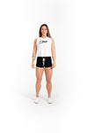 Women's Cut Off Tee - GRL PWR - White - Savage Barbell
