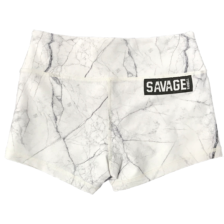 85b0b8eb37 Booty Shorts - White Marble - Savage Barbell