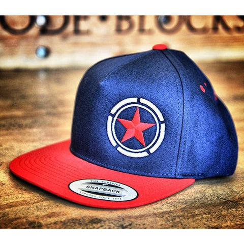 Blue and Red Star Savage Barbell Flat Bill Hat