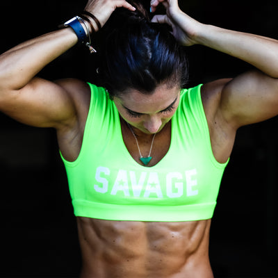 Sports Bra - Crop Tee Sports Bra - Sour Apple - Savage Barbell
