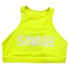 Sports Bra - Fluorescent Yellow High Neck Sports Bra - Savage Barbell