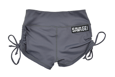 Drawstring Booty Shorts - Smoke - Savage Barbell