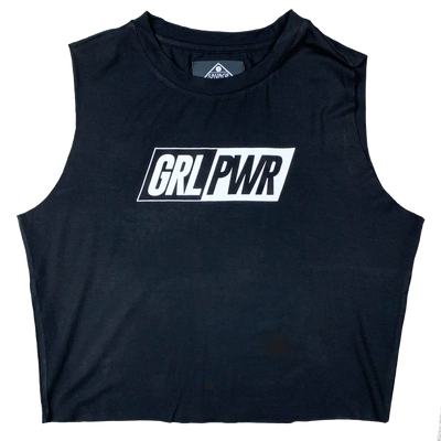 Women's Cut Off Tee - GRL PWR - Black - Savage Barbell