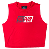 Women's Cut Off Tee - GRL PWR - Red - Savage Barbell