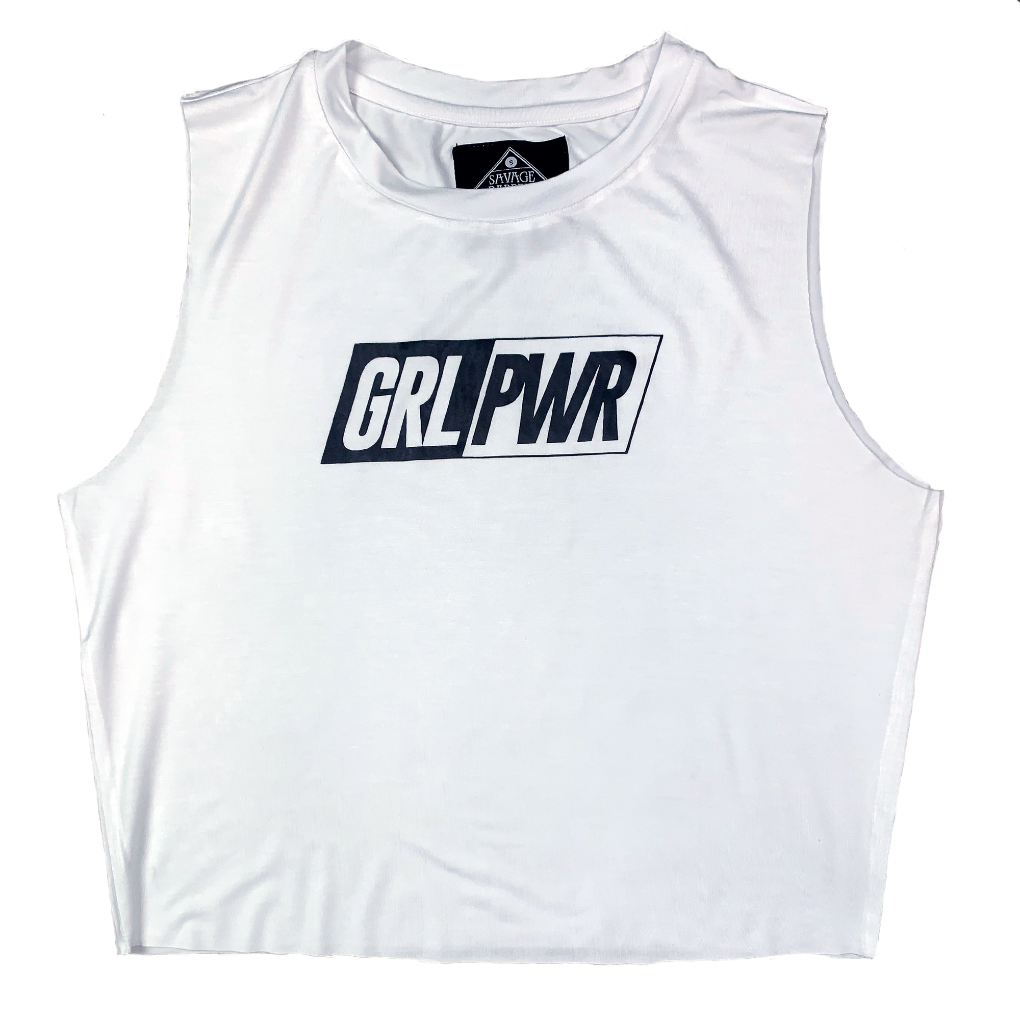 Women's Cut Off Tee - GRL PWR - White