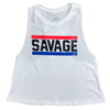 Red, White, & Blue - Savage Barbell Women's Racer Crop Tank - Savage Barbell