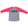 Men's 3/4 Sleeve Red and Gray T-Shirt - Savage Barbell