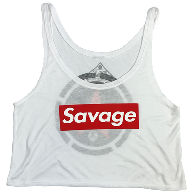 Crop Top - Savage Box - White - Savage Barbell