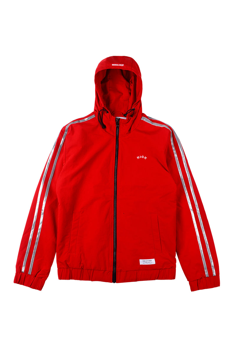 REFLECTIVE DOUBLE STRIPES  HOODIE JACKET | RED - 86
