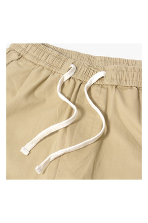 LOOSE-FIT ELASTIC WAISTBAND CROPPED PANT | KHAKI - 130