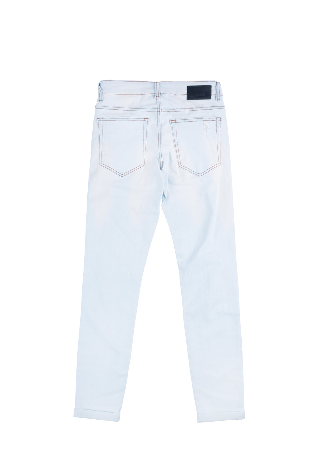 SLIM-FIT HEAVY WASHED RIPPED JEANS | LIGHT BLUE - 58
