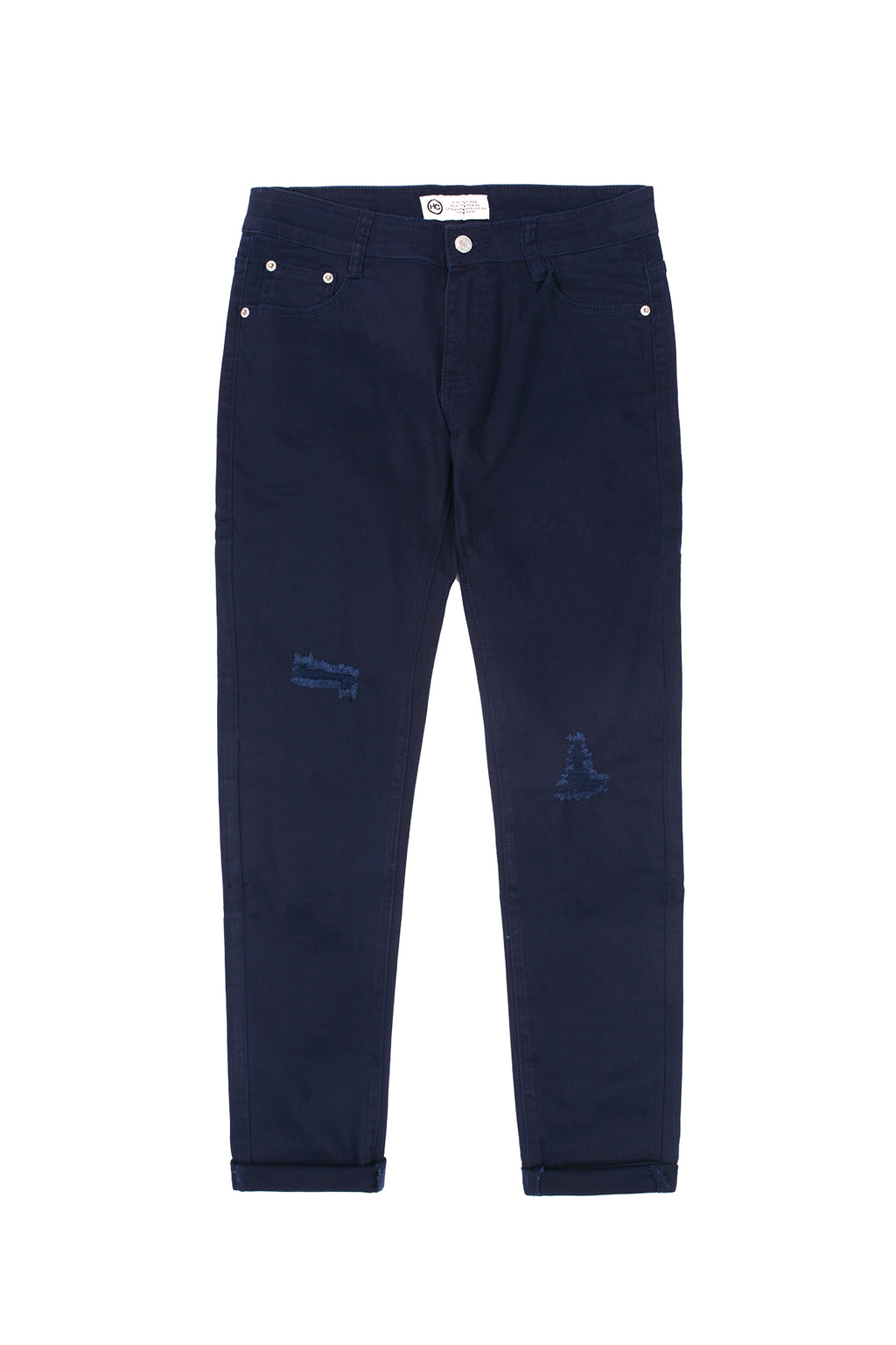 SKINNY-FIT RIPPED PANT | NAVY - 114