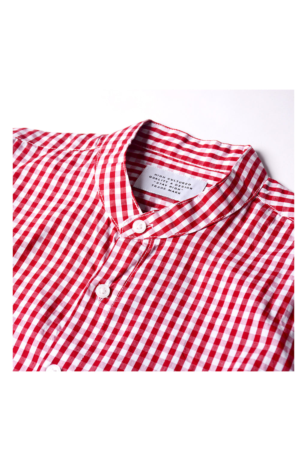 COLLARLESS SMALL CHECKERED SHIRT | RED - 262